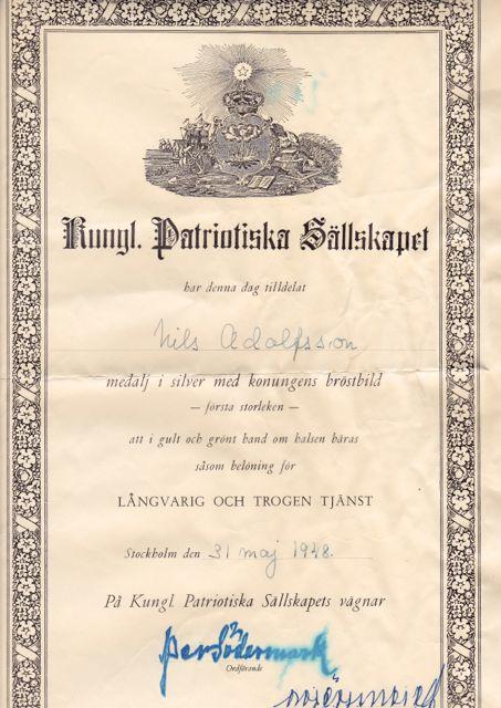 Diplom Kungliga Patriotiska Sällskapet