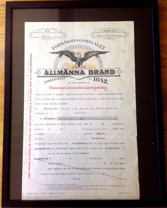 Försäkringsbrev från 1927