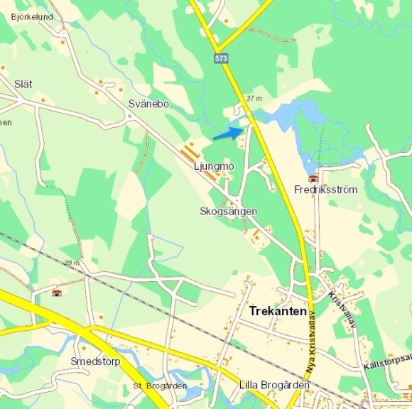 Karta, Flaggstugan ligger vid den blåa pilen