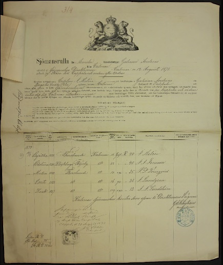 Sjömansrulla 1873 JP Törnqvist
