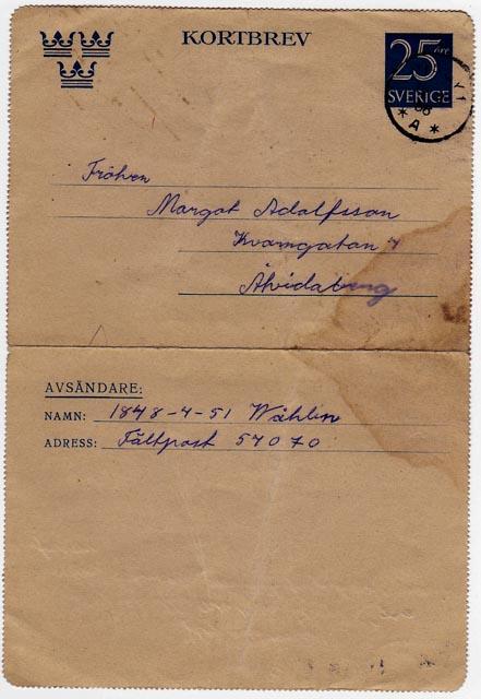 Militärpost från Gotland 1956