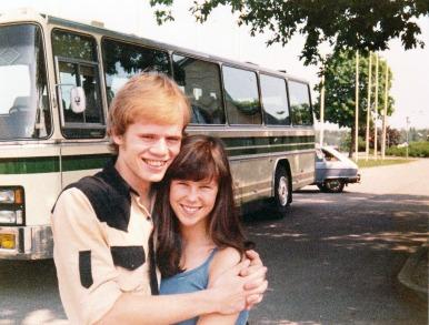 Helena på väg på skolresa 1977